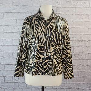 Exclusively Misook Animal Print Zip Jacket ***